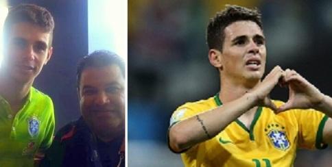 Oscar, de la selección brasileña y mediocampista del Chelsea Inglés.